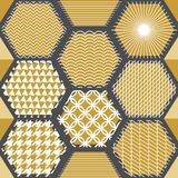 Japanese golden print with hexagons. Seamless vector pattern with different geometric elements. Abstract white background with golden ornaments. Oriental Royalty Free Stock Photos