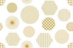 Japanese golden print with hexagons. Seamless vector pattern with different geometric elements. Abstract white background with golden ornaments. Oriental Stock Photo