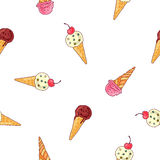 Seamless vector pattern of different ice cream Royalty Free Stock Image