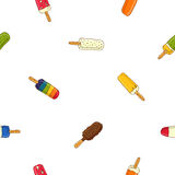 Seamless vector pattern in different popsicle Royalty Free Stock Photo