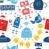 Seamless vector pattern with different retro robots.  stock illustration