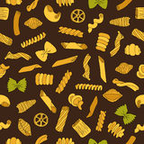 Seamless vector pattern of different types of colored pasta Royalty Free Stock Photos
