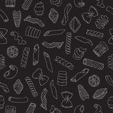 Seamless vector pattern of different types of pasta Royalty Free Stock Image
