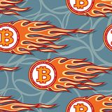 Seamless vector pattern of digital bitcoin crypto currency icons and flames. vector illustration