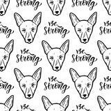 Seamless vector pattern with dogs. Wrapping paper or packaging design for pets shop. Be strong calligraphic text. Royalty Free Stock Image