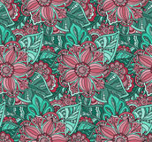 Seamless vector pattern with Doodle flowers and leaves. Royalty Free Stock Images