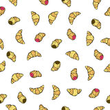Seamless vector pattern with doodle hand drawn croissants donuts. Color illustration of cute desserts. Seamless vector pattern with doodle hand drawn donuts Stock Photography