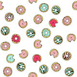 Seamless vector pattern with doodle hand drawn donuts. Color illustration of cute desserts Stock Photo