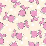 Seamless vector pattern with doodle pink dresses Stock Images