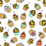 Seamless vector pattern with doodle sweet cakes. Seamless vector pattern with doodle sweet cupcakes with berries. Color illustration of cute desserts Stock Photography
