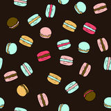 Seamless vector pattern with doodle sweet french macarons. Color illustration of cute desserts Stock Images