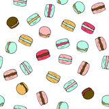 Seamless vector pattern with doodle sweet french macarons. Color illustration of cute desserts Stock Photo