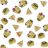 Seamless vector pattern with doodle sweet pancakes. Seamless vector pattern with doodle sweet pancakes with filling and berries. Color illustration of cute Stock Images