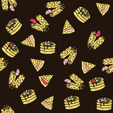Seamless vector pattern with doodle sweet pancakes. Seamless vector pattern with doodle sweet pancakes with filling and berries. Color illustration of cute Stock Photo