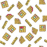 Seamless vector pattern with doodle sweet waffles. Seamless vector pattern with doodle sweet waffles with filling and berries. Color illustration of cute Stock Photos