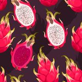 Seamless vector pattern with dragon fruit. On a dark background Stock Photo
