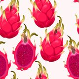 Seamless vector pattern with dragon fruit. On a white background Stock Photo
