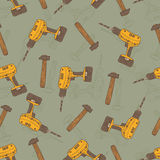 Seamless Vector Pattern with Drills and Hammers Royalty Free Stock Photography
