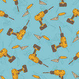 Seamless Vector Pattern with Drills and Trowels Royalty Free Stock Image