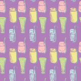Seamless vector pattern with drinks Royalty Free Stock Photography
