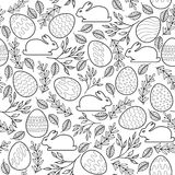 Seamless vector pattern with Easter eggs, bunnies Stock Image
