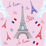 Seamless vector pattern with Eiffel tower Stock Images