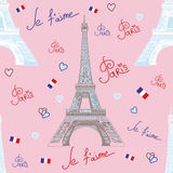 Seamless vector pattern with Eiffel tower on pink background Stock Image