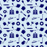 Seamless vector pattern with elements of blue kitchen utensils Stock Images