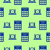Seamless vector pattern with elements of calendars and clocks. Seamless vector pattern. Background with elements of calendars and clocks blue color over green Stock Photography