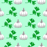 Seamless vector pattern with elements of grey garlic and parsley Royalty Free Stock Image