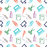 Seamless vector pattern with elements of office supplies. Colorful background with scissors, notebook, laptop, pc,pen,pencil, pape Royalty Free Stock Photo