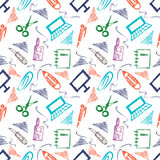 Seamless vector pattern with elements of office supplies. Colorful background with scissors, notebook, laptop, pc,pen,pencil, pape Royalty Free Stock Photos