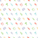Seamless vector pattern with elements of office supplies. Colorful background with scissors, notebook, laptop, pc,pen,pencil, pape Royalty Free Stock Photography