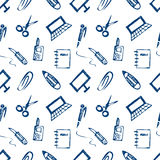 Seamless vector pattern with elements of office supplies. White background with scissors, notebook, laptop, pc,pen,pencil, paper c Stock Images