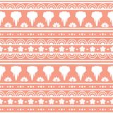 Seamless vector pattern with elephants in Asian style. White silhouettes on a red background vector illustration