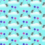 Seamless vector pattern with elephants and balloons stock illustration