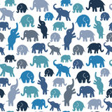 Seamless vector pattern with elephants. Royalty Free Stock Photos