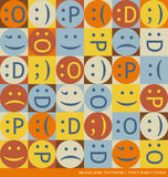 Seamless vector pattern with emoticons text symbols stock illustration