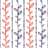 Seamless vector pattern, endless background with ornamental decorative elements in the shape of branch with leaves and dotted line Stock Photos