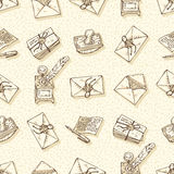 Seamless Vector Pattern with Envelopes, Ink Pens, Blotters and Inkstands Royalty Free Stock Photos