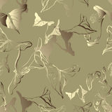 Seamless vector pattern with  exotic leaves Royalty Free Stock Photos