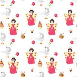 Seamless vector pattern with fairies, swans, cakes and flowers. Illustration for children Stock Photos