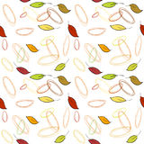 Seamless vector pattern with fall leaves. And drawn circles royalty free illustration