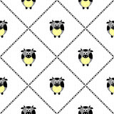 Seamless vector pattern with farm animals. Cute background with blue comic cows on the white backdrop Stock Photo