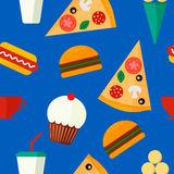 Seamless vector pattern with fast food. Seamless background vector pattern with fast food: burger, muffin, hot dog, pizza, ice cream and drink on blue background Royalty Free Stock Photography