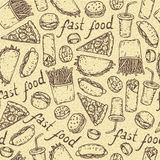 Seamless Vector Pattern with Fast Food Stock Photo