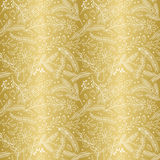 Seamless Vector Pattern of Faux Gold Foil Christmas Holiday Florals Stock Image