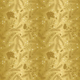 Seamless Vector Pattern of Faux Gold Foil Christmas Holiday Florals Stock Photography