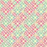Seamless flower patchwork vector pattern in yellow, green and pink stock illustration