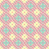 Plaid and polka dot patchwork seamless vector pattern in yellow, green and pink stock illustration